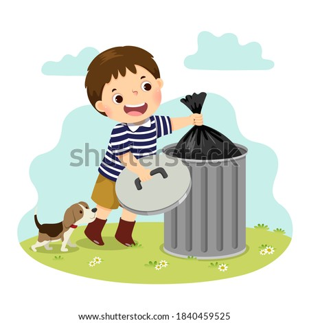 Vector illustration cartoon of a little boy taking out the trash. Kids doing housework chores at home concept Stock photo ©