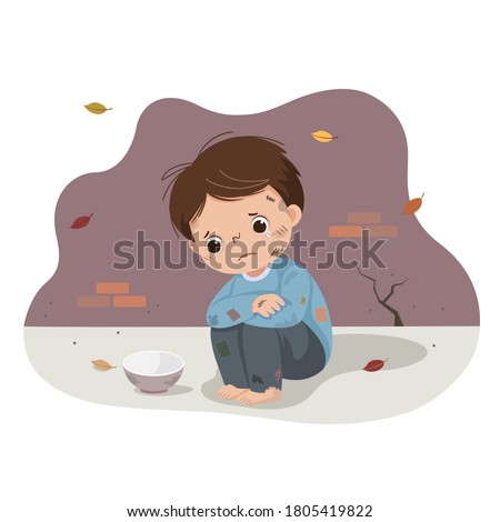 Vector illustration cartoon of a poor boy begging with an empty bowl. Homeless kid.