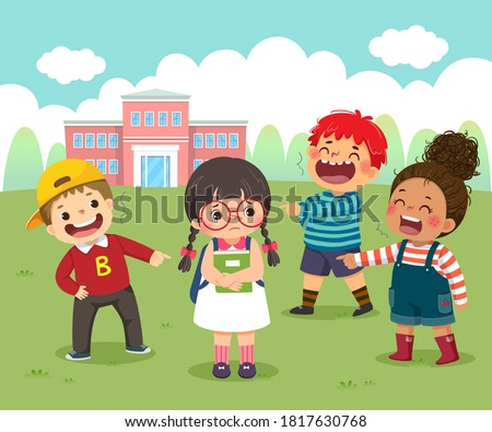 Vector illustration cartoon of a sad little girl being bullied by her schoolmates in schoolyard.