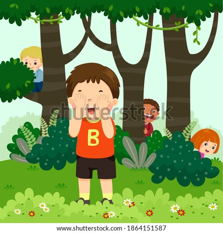 Vector illustration cartoon of children playing hide and seek in the park. Stock photo ©