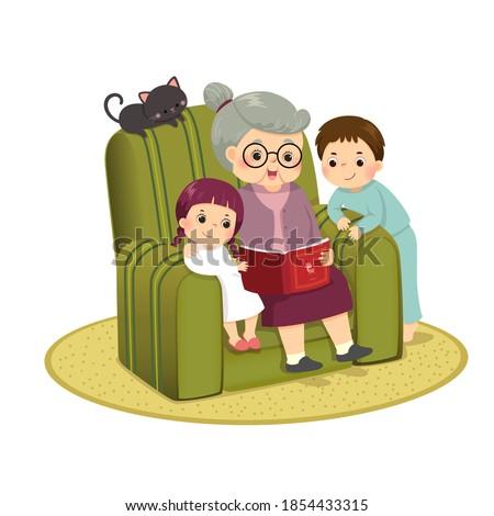 Vector illustration cartoon of grandma telling story to her grandchildren on a sofa.