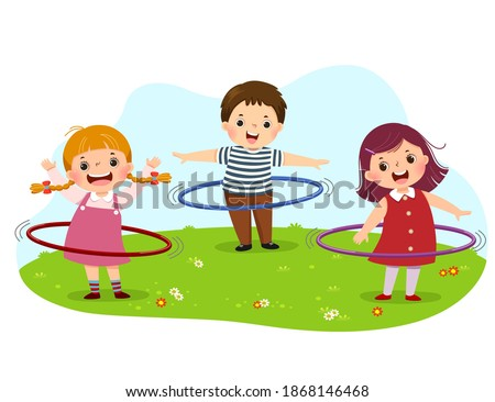 Vector illustration cartoon of kids playing hula hoop in the park. Stock photo ©