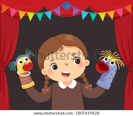Vector illustration cartoon of little girl playing sock puppets theatre.