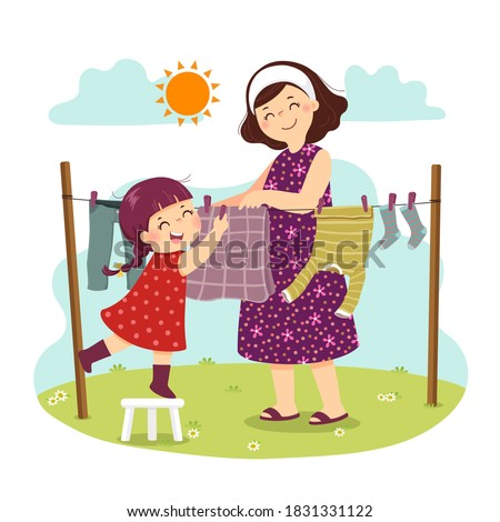 Vector illustration cartoon of mother and daughter hanging the laundry on the backyard. Kids doing housework chores at home concept.