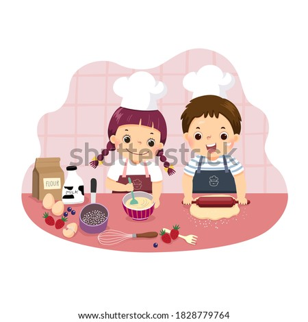 Vector illustration cartoon of siblings baking together at kitchen counter. Kids doing housework chores at home concept.