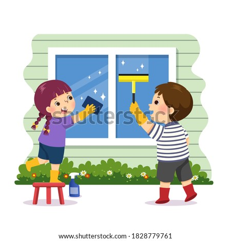 Vector illustration cartoon of siblings helping to clean the window at home. Kids doing housework chores at home concept. Stock photo ©