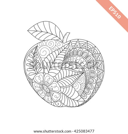 Vector illustration cartoon ornate apple. Coloring book page | EZ Canvas