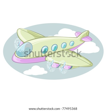 Vector illustration, cartoon plane, card concept.