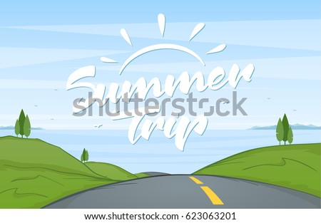 Vector illustration: Cartoon road landscape with handwritten lettering of Summer Trip.