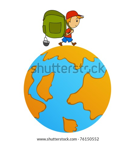 Vector illustration. Cartoon travel man with backpack around world