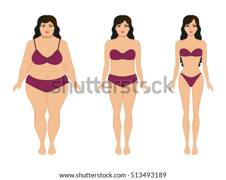 e1a0a8fb3 Vector illustration cartoon woman slimming. Fat and slim girl. Female body  before and after