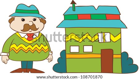 vector illustration- cartoon  young man in  hat and stripy  sweater with moustache standing near  his house  on white background