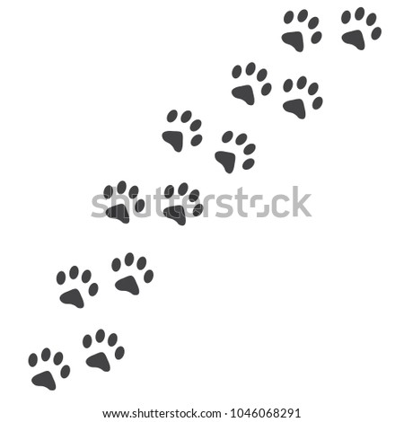 Vector illustration. Cat Paw Prints Track Logo. Black on White background. Animal paw print with claws.
