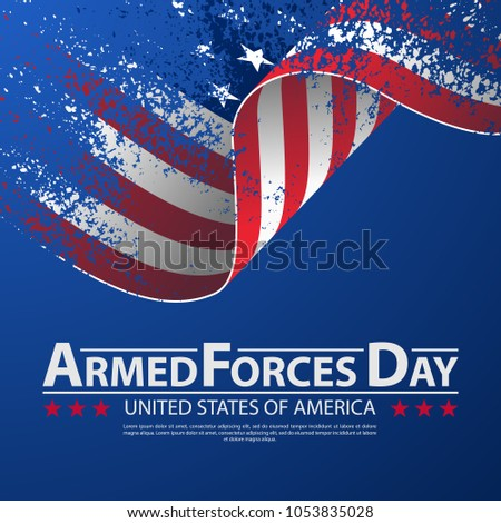 Vector illustration Celebration background for Armed Forces Day. Brush stroke background Armed forces day