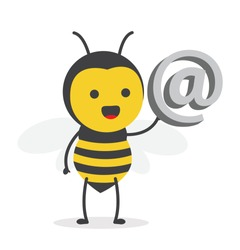 vector illustration character cartoon design cute honey yellow bee mascot holding at email icon 3d in white background