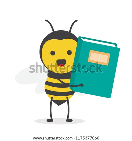 vector illustration character cartoon design cute honey yellow bee mascot holding book for study in white background