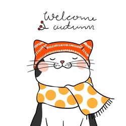 Vector illustration character design black cat with beauty scarf and word welcome autumn.Doodle cartoon style.
