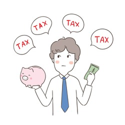 Vector illustration character design business man saving money and thinking to pay tax.Doodle cartoon style.