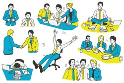 Vector illustration character design of businessman, various actions and activities, at workplace and office. Outline, linear, thin line art, hand draw sketch, simple style.