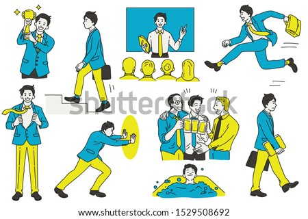 Vector illustration character design of businessman, various actions and activities, at workplace and office, business concept. Outline, linear, thin line art, hand draw sketch, simple style.