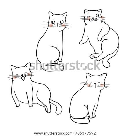 picnetz vector illustration character design outline of cute cat