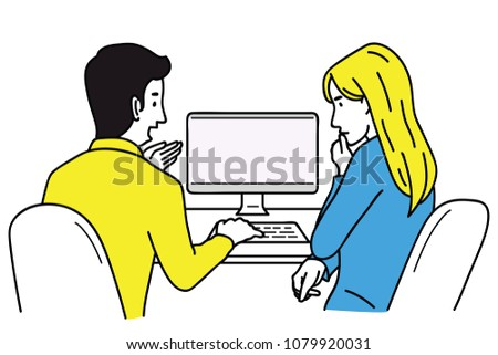 Vector illustration character of businessman and woman, office worker, training for new trainee, internship with computer screen, sitting at desk. Outline, linear, hand drawn sketch design.