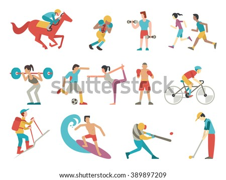 Vector illustration character of people in sport set, simple style with flat design.