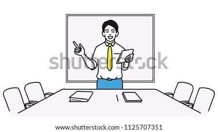 Vector illustration character of young businessman, preparing himself for upcoming meeting. Outline, linear, thin line art, hand drawn sketch.