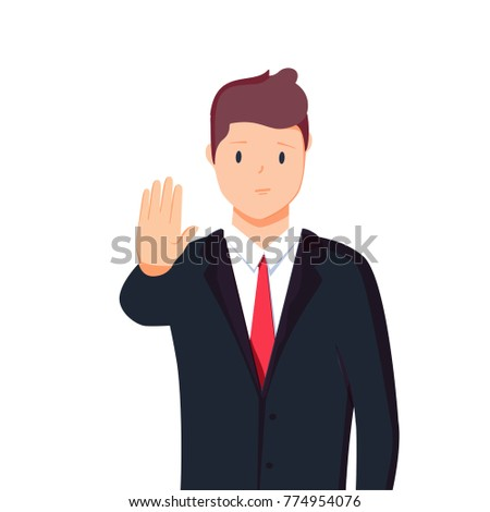 Vector illustration character portrait of businessman, raising hand, palm stretch forwards, body language saying no, stop, or negative expression emotion.