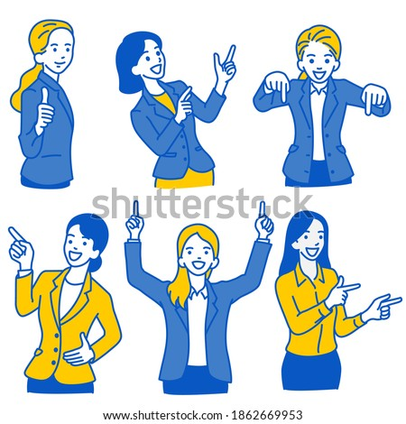 Vector illustration character set of businesswoman pointing at blank space in various poses; pointing up, down, side way with smiling. Outline, linear, thin line art, hand drawn sketch, simple style. Foto d'archivio ©