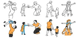 Vector illustration character set of father enjoy happy time with son and daughter, in concept of Father's Day. Outline, thin line art, hand drawn sketch design, simple style.