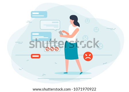Vector illustration - chatting girl, insulted and block the user.  Banner, poster template with place for your text.
