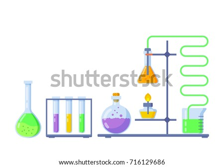 Vector illustration, chemistry icons set. Laboratory research infographics design elements.