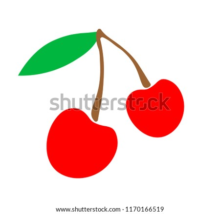 vector illustration cherries logo or sticker, for children simple drawing of fruit, red berry