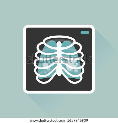 vector illustration chest x-ray image, lung radiography / pneumonia, pulmonary fibrosis / health care, safety equipment concept / flat, isolated, sign and icon template  Foto stock ©