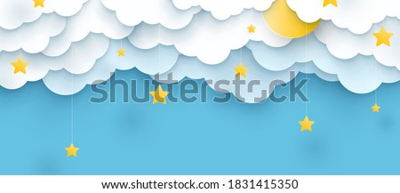 vector illustration. Childish blue background with clouds and stars Stockfoto ©