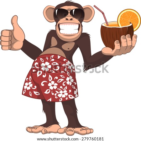 Vector illustration, chimpanzee holding a cocktail and smiling
