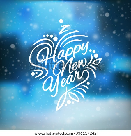 Vector illustration Christmas and Happy New Year. Blurred blue background. Falling snow. Wallpaper. 2019. 2018. lettering Greeting Card. Falling snow. Snowflakes, snowfall. Flake of snow. EPS 10