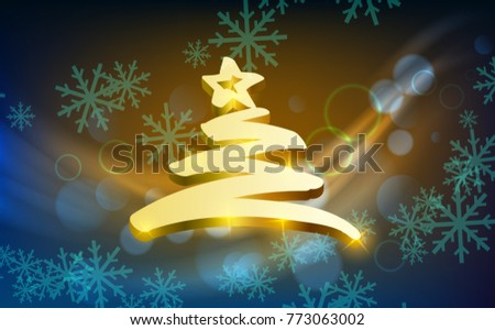 Vector illustration Christmas and New Year poster with glowing light effect and golden fir tree.