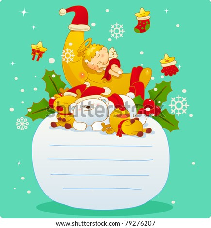 Vector illustration, Christmas card, Greeting card
