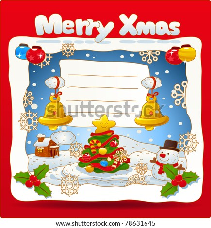 Vector illustration, Christmas card, Merry X'mas, Greeting card