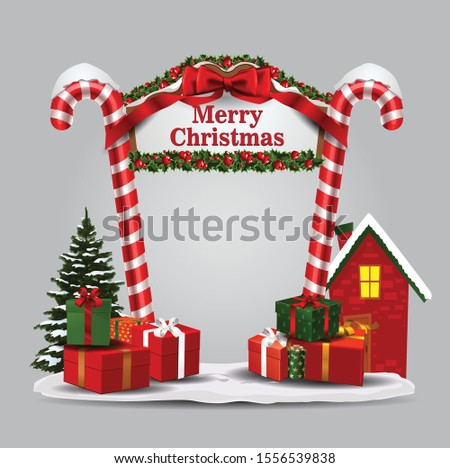 vector illustration. Christmas decorations on the front arch of a residential building, a wreath of plants and garlands, gift wrapping,