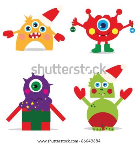 vector illustration. christmas monsters.