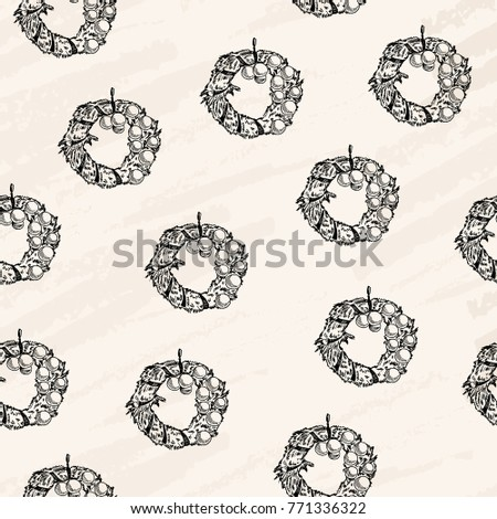 Vector illustration. Christmas wreaths seamless pattern. Element of scrap-booking paper design.