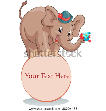 Vector illustration, circus elephant with banner, card concept, white background.