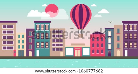 Vector illustration. City of Dreams. Building. River. Balloon #1060777682