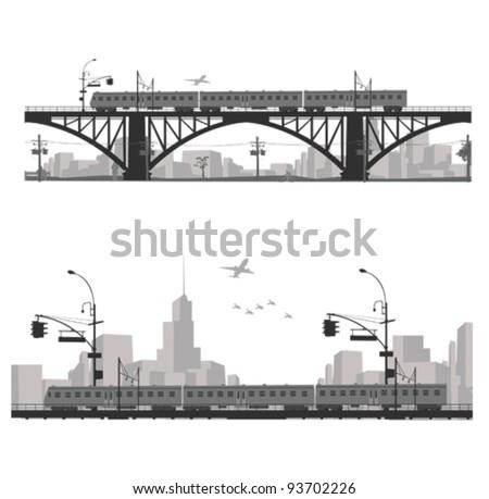 Vector illustration.City scape silhouette. Train on a bridge .