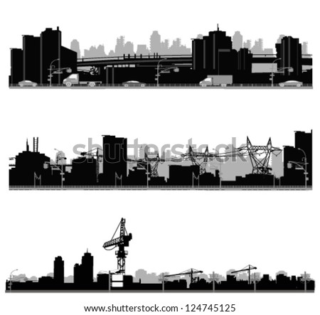 Vector illustration.City skyline.Construction