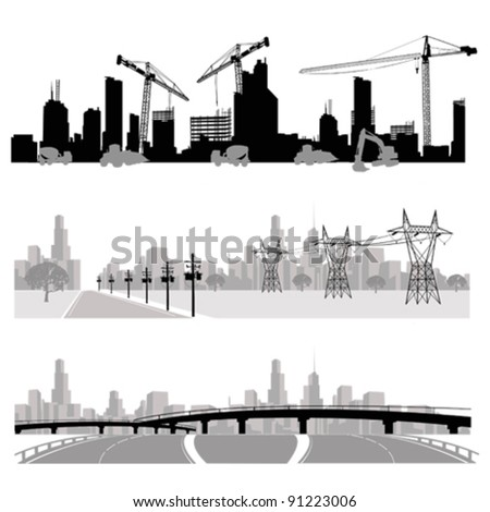 Vector illustration.City skyline.Construction,energy distribution and highway silhouette
