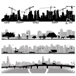 Vector illustration.City skyline.Construction ,park and highway silhouette